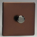Varilight 1 Gang 1 or 2 Way 400W Push on/off Dimmer Light Switch Screwless Mocha HDM3S